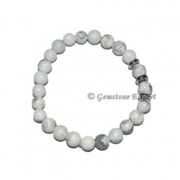 Round Charm White Howlite Bracelets