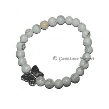 Butterfly Charm White Howlite Bracelets
