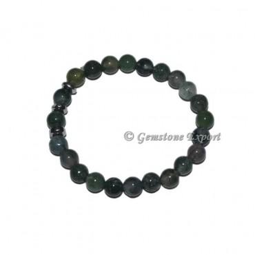 Round Charm Green Moss Agate Bracelets