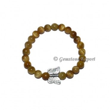Butterfly Charm Lemon Tiger Eye Bracelets