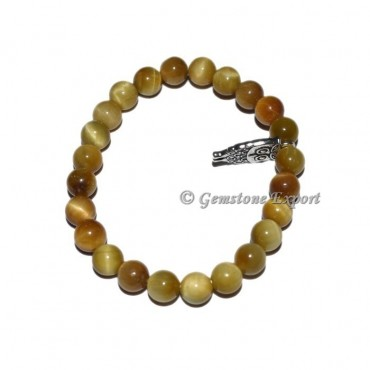 Owl Charm Lemon Tiger Eye Bracelets