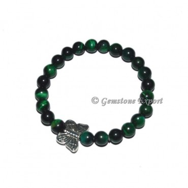 Butterfly Charm Green Tiger Eye bracelets