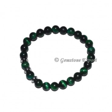 Round Charm Green Tiger Eye Bracelets
