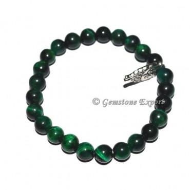 Owl Charm Green Tiger Eye Bracelets