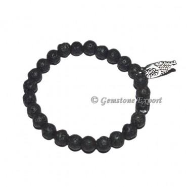 Owl Charm Black Lave Stone Bracelets