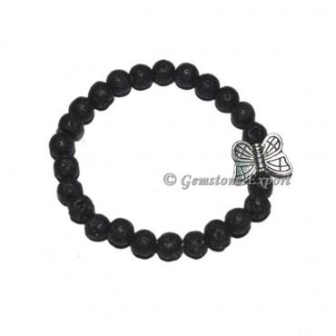 Butterfly Charm Black Lava Stone Bracelets