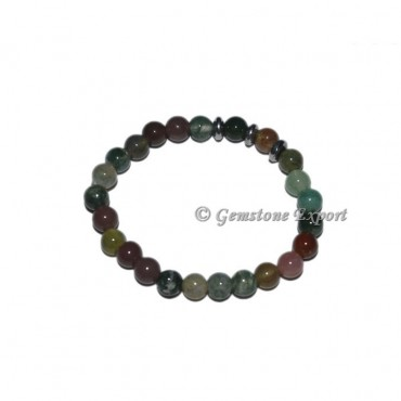 Round Charm Moss Agate Bracelets with