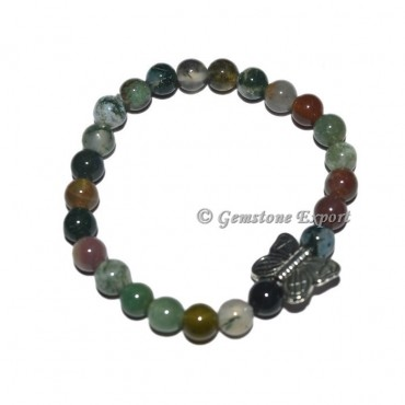 Butterfly Charm Moss Agate Bracelets with