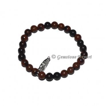 Owl Charm Mahogany Obsidian Bracelets with