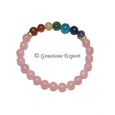 Rose Quartz 7 Chakra Bracelets