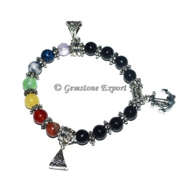 Agate Healing 7  Chakra stone Bracelets with charms