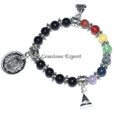 Seven Chakra Stone Healing Bracelets with Charms