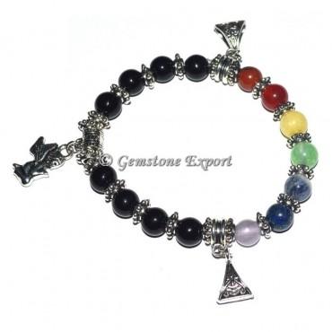 Seven Chakra stone Healing stone bracelets with Angels