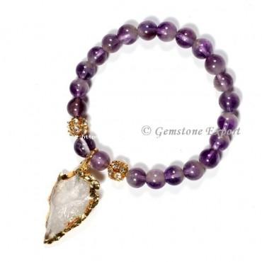 Amethyst Gemstone Bracelets With Arrowhead