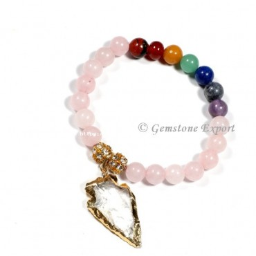Rose Quartz With Seven Chakra Gemstone Bracelets With Arrowhead