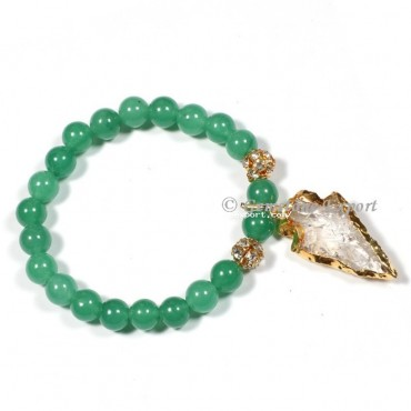 Green Jade Gemstone Bracelets With Arrowhead