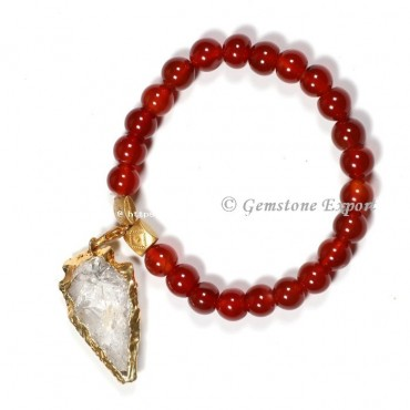Red Carnelian Gemstone Bracelets With Crystal Quartz Arrowhead