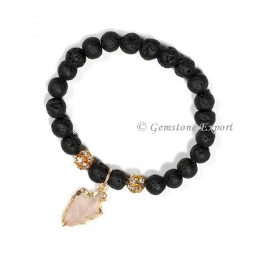 Lava With Seven Chakra Gemstone Bracelets With Arrowhead
