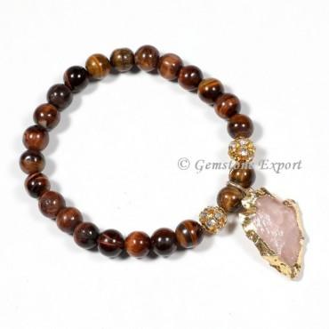 Tiger Eye Gemstone Bracelets With Rose Quartz Arrowhead