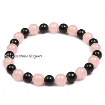 Rose Quartz And Black Tourmaline Gemstone Bracelets