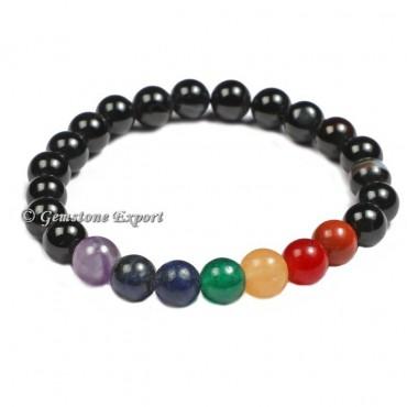 Black Onyx With Seven Chakra Gemstone Bracelets