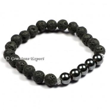 Lava With Black Tourmaline Gemstone Bracelets