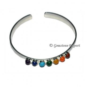 Silver Metal Bracelets With Seven Chakra