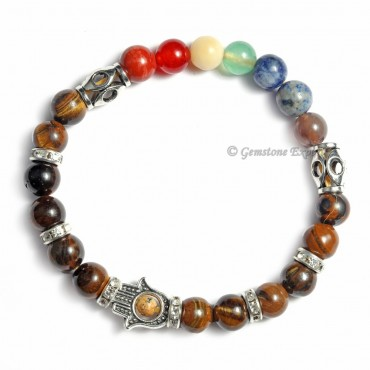 Seven Chakra Hamsa Bracelet With Tiger Eye