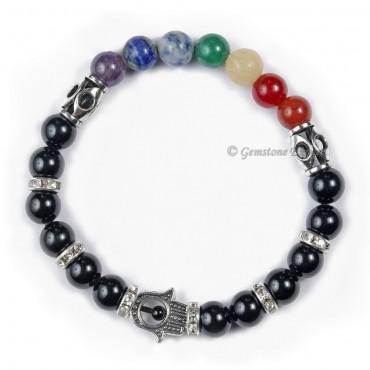 Seven Chakra Hamsa Bracelet With Black Agate