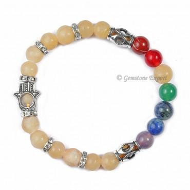 Seven Chakra Hamsa Bracelet With Calcite