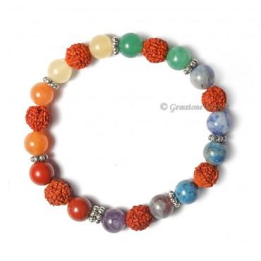 Combo Seven Chakra Bracelet With Rudraksha