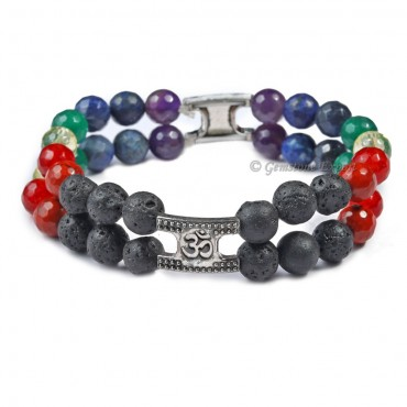 7 Chakra Double Line Barcelet Cut In Lava Stone