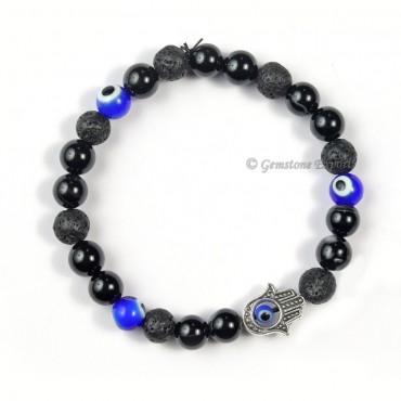 Combo Black Tourmaline Bracelet With Evil Eye 3 Beads