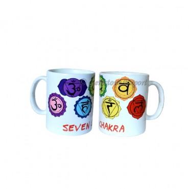 Chakra Color Symbol Printed On Ceramic Cup
