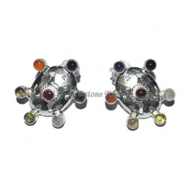 Oval Shape 7 Chakra Earrings