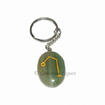 Green Aventurine Oval Arch Keychain