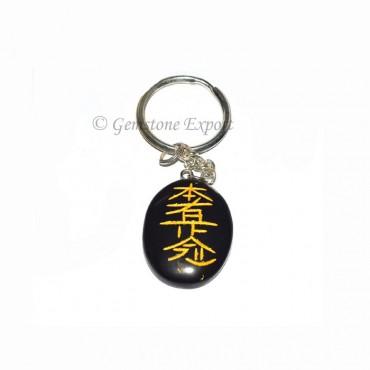 Black Agate Oval Reiki Keychain
