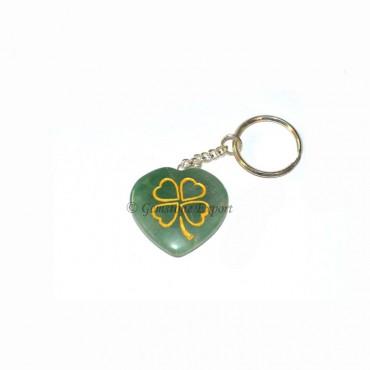 Green Aventurine Heart Keychain