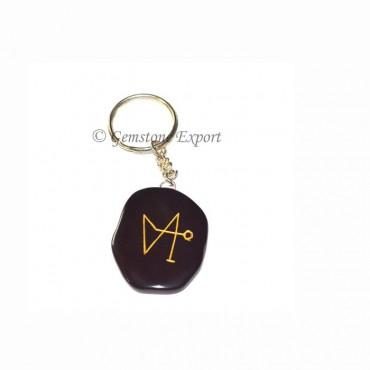 Black Agate Unshape Arch Angel keychain
