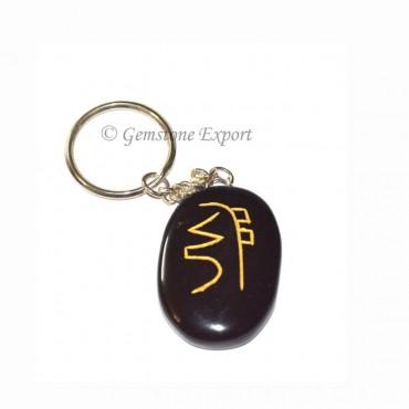 Black Agate Oval Dokomio Keychain