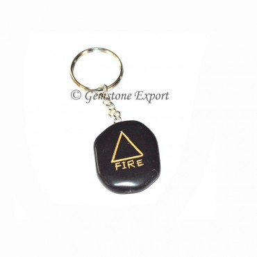 Black Agate Fire Keychain