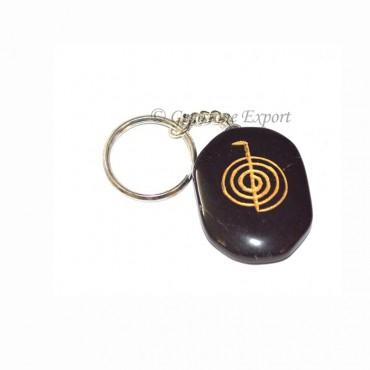 Black Agate Choko Reiki Keychain