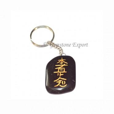 Black Agate Destination Reiki Keychain