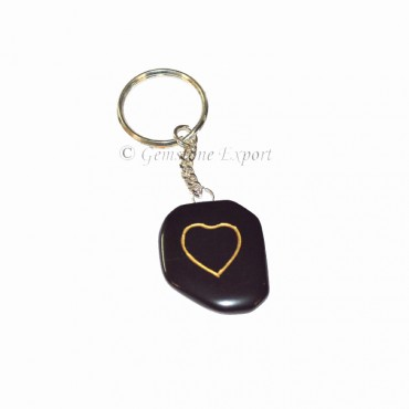 Black Agate heart Carved Keychain