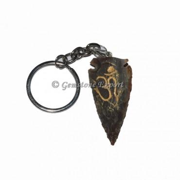 Om Engraved Arrowheads Keychain