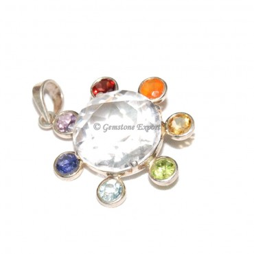 Crystal Quartz Diamond Chakra Pendants