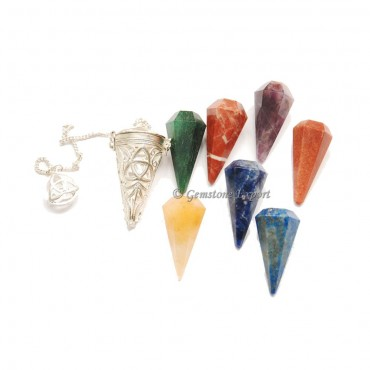 Triquetra Chakra Faceted Cage Pendulums