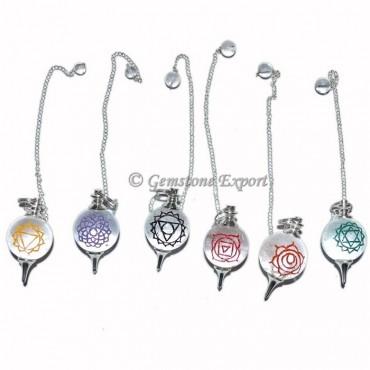Crystal Ball Pendulum  Engraved Chakra