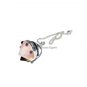 Rose Quartz Energy Cone Chakra Pendulum