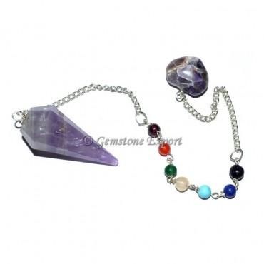 Amethyst Chakra Pendulum With 7 Chakra Chain